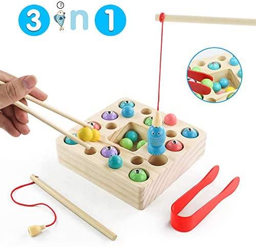 jerryvon Giochi Montessori Gioco Pesca in Legno - Puzzle Bebe Magneti...