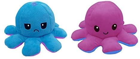 Gowind6 - Peluche a forma di polipo, double-face, colore: viola e blu