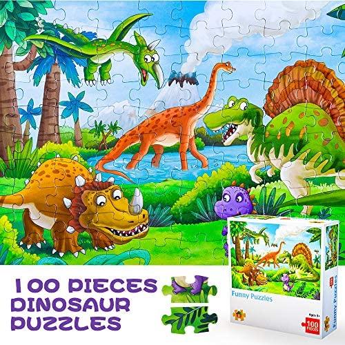 Juiet Puzzle di Dinosauro Carino da 100 Pezzi per Ragazzi e Ragazze -...