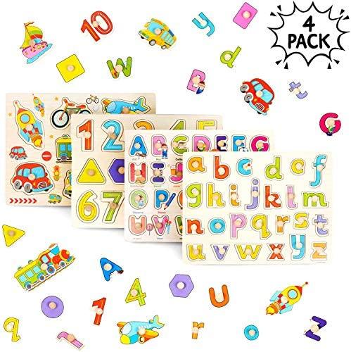 THE TWIDDLERS 4 PCS Puzzle in Legno per Bebè - Puzzle Veicoli Lettere...