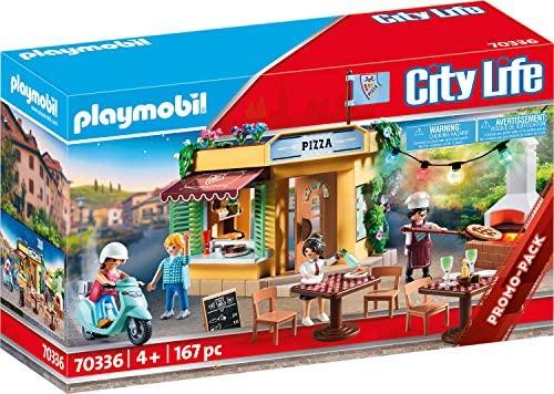 Playmobil City Life 70336 - Pizzeria con Tavoli all'Aperto con Effetti...
