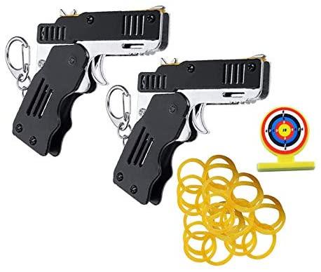 2 confezioni pistola giocattolo a elastico mini pistola in gomma pieghevole...
