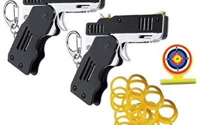 2 confezioni pistola giocattolo a elastico mini pistola in gomma pieghevole…