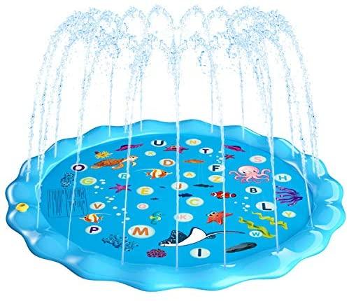 Fostoy Tappetino per Giochi d'Acqua, 170cm Giochi d'Acqua Giardino Sprinkle...