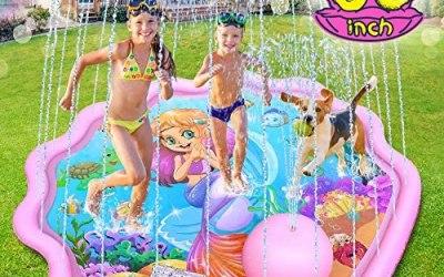 LETOMY Tappetino Gioco d'Acqua, 172cm Splash Pad Tema Sirena Sprinklers Pad…