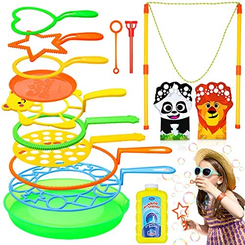 Flyfun Bolle di Sapone Set per Bambini, 16 Pezzi Bacchetta A Bolle Sicuro e...