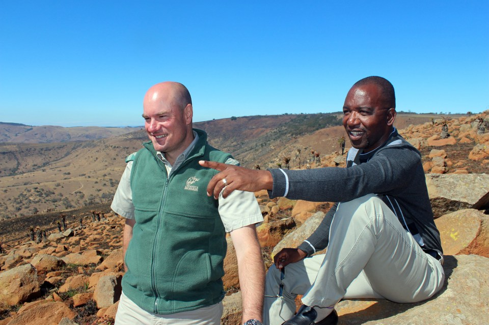Greg Martindale with Eric Buthelezi, the chairman of the 192-family Emcakwini Community Trust who, despite years of trying to attract government investment in his 19000ha land-claimed Babanango farm, nevertheless remains committed to the wildlife economy option.