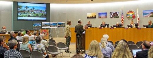 The Encinitas Arts, Culture and Ecology Alliance's Jon Humphrey (l.) and Garth Murphy made a winning Pacific View presentation to the City Council on September 23, 2015.