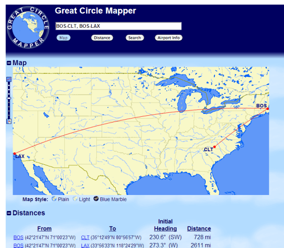 Use gcmap.com to determine the distances of your flights