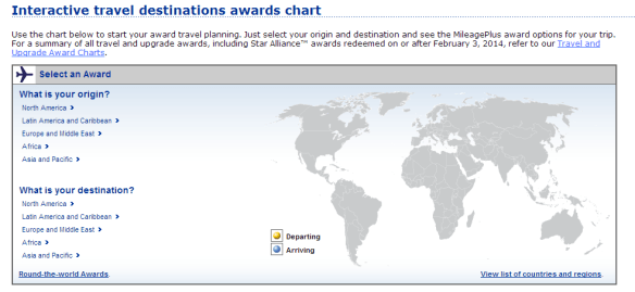 An award chart like United's is only concerned with the region you leave and the region you arrive at