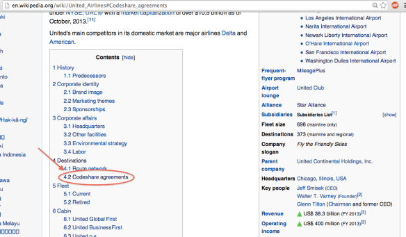 You can also find codeshare agreements on Wikipedia