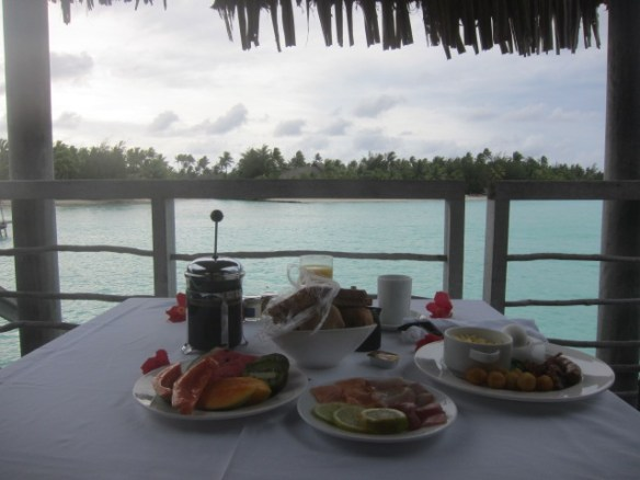 Breakfast served on our deck