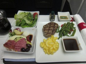 US Airways Business Class Dinner Charlotte to Rio
