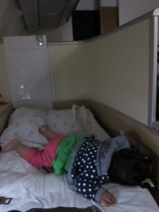 "It was pretty straightforward putting her to sleep on the first class ""bed"""