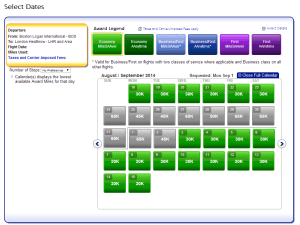 American Airlines Award search calendar