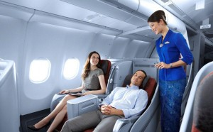 These business class seats look pretty nice but aren't on all of Garuda's flights