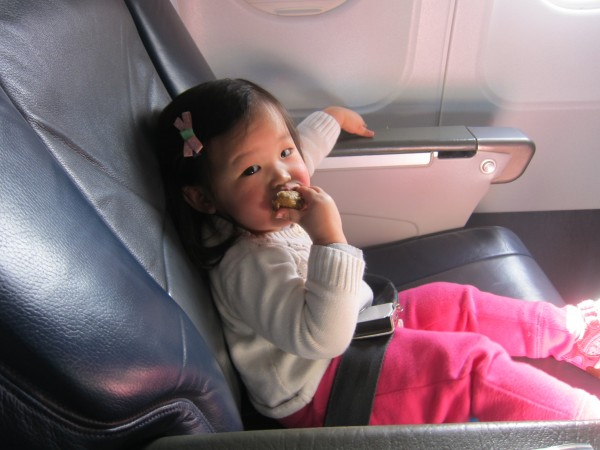 Even when a toddler is well behaved, a flight can be pretty tiring