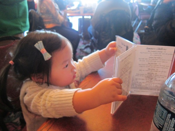 Checking out the menu - that we didn't really order from