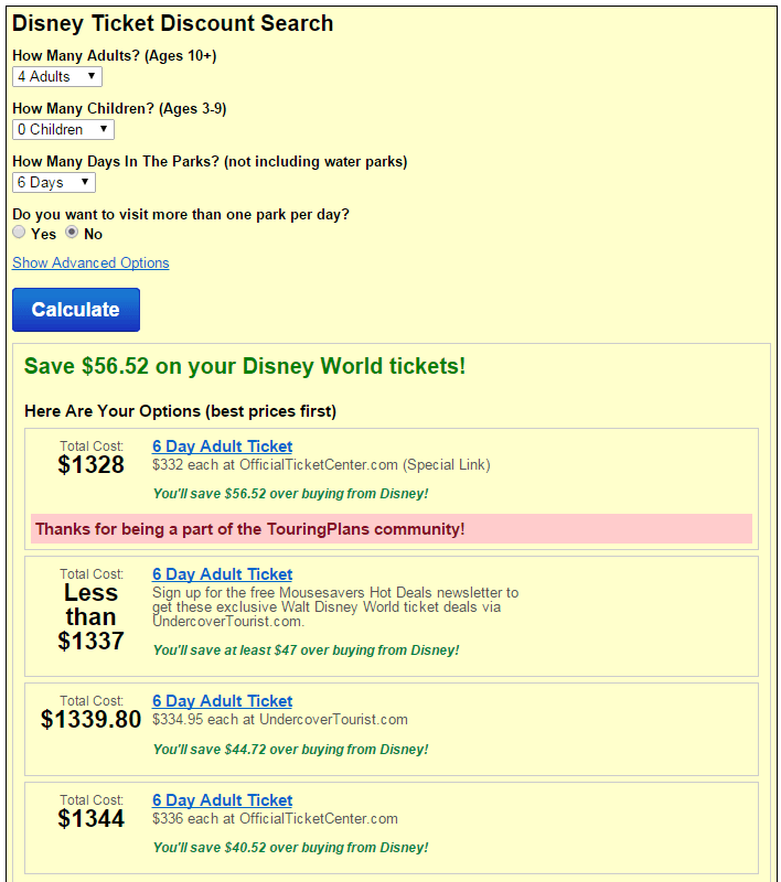 saving money on Disney tickets