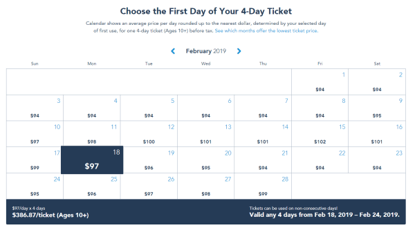 Walt Disney World Ticket Changes - February 2018