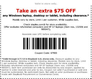 Staples $75 Coupon