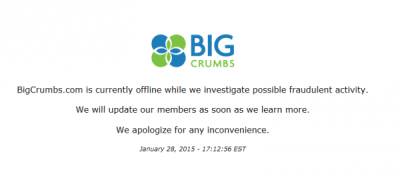 "1-28-2015  BigCrumbs ""Offline while We Investigate Fraudulent Activity"" – the CEO's 2010 interview on Fraud"