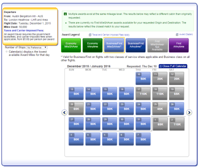 Great Award Availability on British Airways to London around Christmas and New Years!