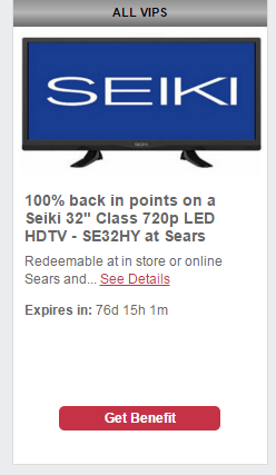 10-16-2015  ShopYourWay Quarterly VIP Benefits are Live:  100% back in points on TVs, Tools, Blenders, BluRays, Soundbars