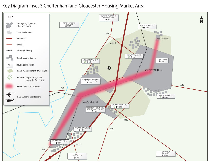 Map of Development Proposed for Cheltenham