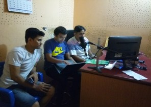 Editing the Radio PSA for broadcasting from Khasyauli F.M.