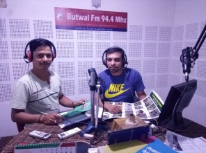 With interviewer Jhabindra Devkota in Butwal F.M.