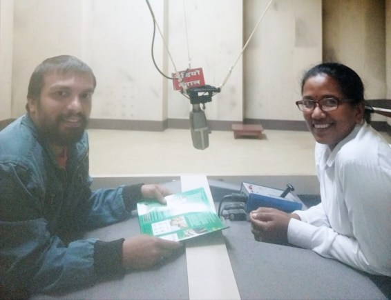 With interviewer Ratna Chaudhary on Radio Nepal