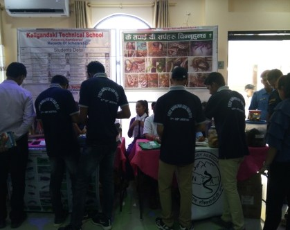 Students visiting our stall