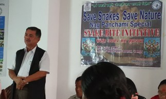 Dr. Gopal Khanal, Chairman of the Midpoint District Hospital Management Committee talking about the initiation and importance of Snakebite Treatment Facility in this district hosp