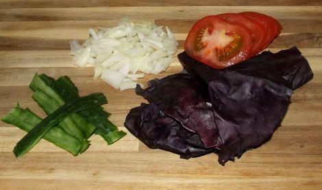 les légumes pour le burger original maison