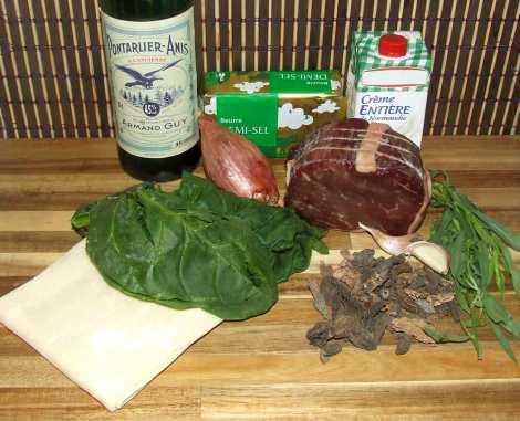 les ingrédients pour le feuilleté au boeuf et morilles