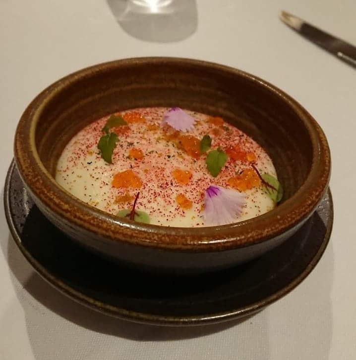 華國牛排-前菜-洋芋、烏魚子、苗葉
