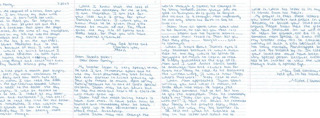 Jason's Letter of Thanks
