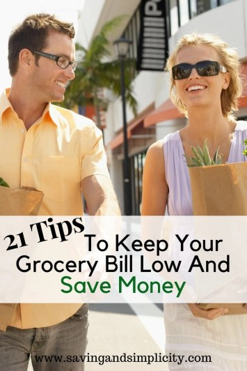 Are you looking to cut your grocery budget in half and save? Here are 21 tips to help you lower your grocery bill and save money. #6 & #20 are my favorites