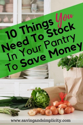 Do you know how much money a stocked pantry can save you? Hundreds of dollars! Canned goods, dry goods and frozen foods. Items you use on a regular basis. Learn the 10 items you need to stock in your pantry today to save money.