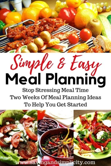 Has the time crunch got you stressed when it comes to meal time? Well stress no more. Here you will find two weeks of simple, easy meal ideas to help you get started. It is time to stress less about meal time and spend more time doing what you love.