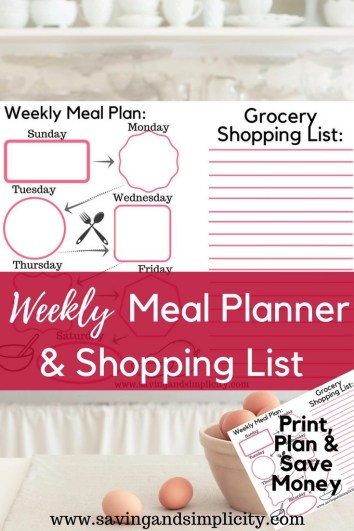 Weekly Meal Planning Printable