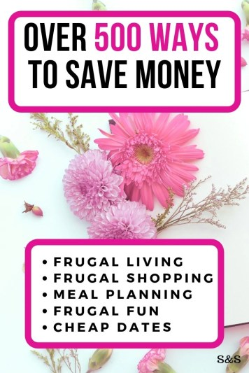 Start saving money today. Take a look at these 450+ money saving ideas to help you get ahead. Frugal living tips, money saving ideas and more.