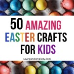 50 Amazing Easter crafts for kids. Easter bunnies, Easter eggs, spring flowers, preschool crafts, DIY Easter crafts. Simple, easy to make children's crafts.