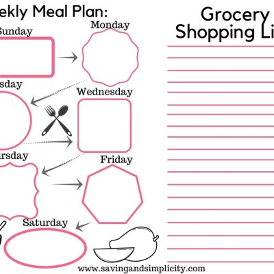 Weekly Meal Planner Option Two