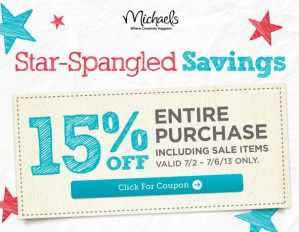 Michaels:  15% Off Entire Purchase Including Sale Items!