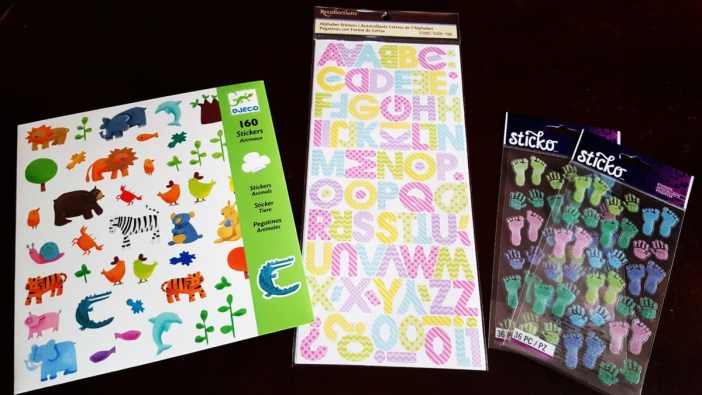 Stickers for baby blocks