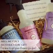 See how I created this beautiful Mrs. Meyer's Mother's Day gift basket full of natural, heavenly-scented products for free! Your mom will LOVE it!