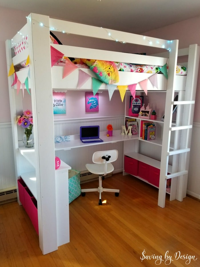 How to Build a Wooden Loft Bed with Desk and Storage for ...