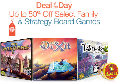 Save up to 50% on select family and strategy board games At Amazon!